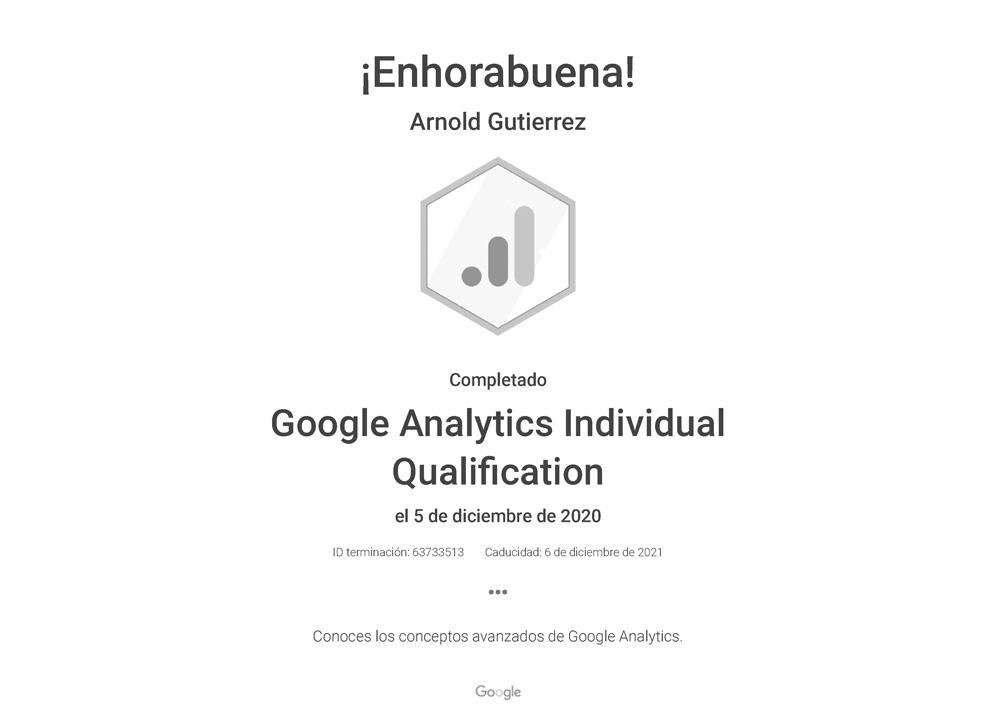 arnold gutierrez certificado analytics 2021